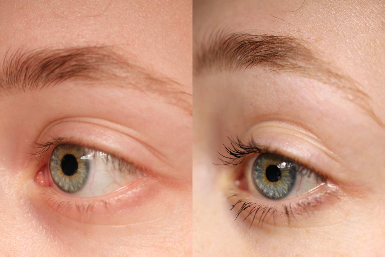This picture is a collage of two pictures, both close ups of Sanne's eye. One shows Sannes eye and lashes without the mascara and the other shows with the mascara.
