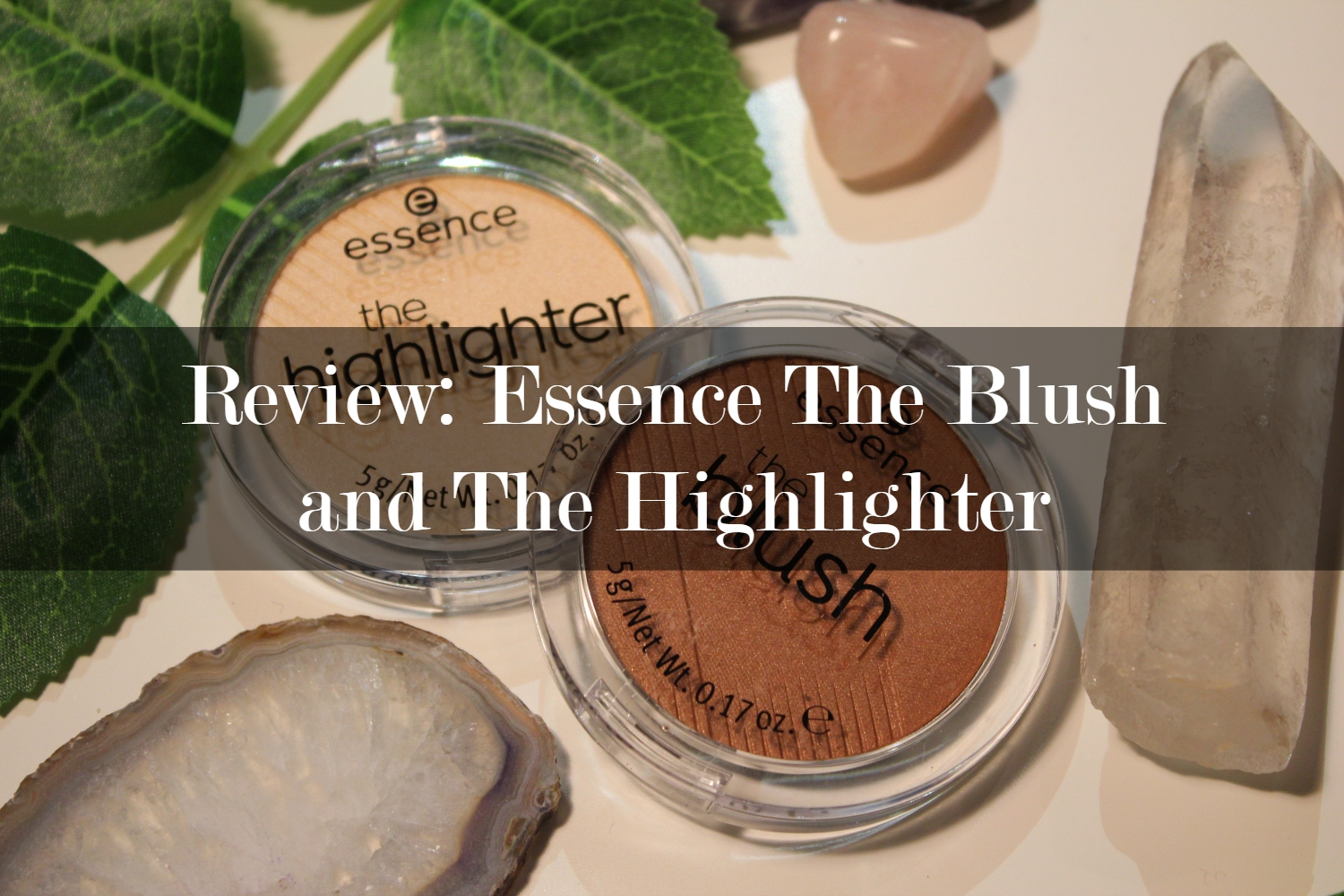 Header picture of the post. It shows the essence highlighter and blush with the title of the post on top of it.